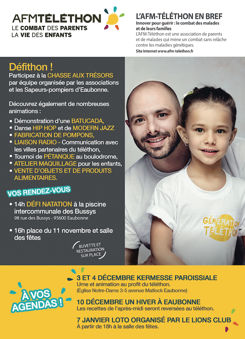 T l thon 2016 agenda bougez eaubonne accueil for Piscine intercommunale des bussys